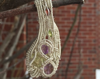 Amethyst~ Citrine~ Garnet~ Periot~ Multi Gemstone~ Sterling Silver .925~ Fine Silver .999 Heady Artisan Wire Wrapped Pendant~ Gemstone Jewel