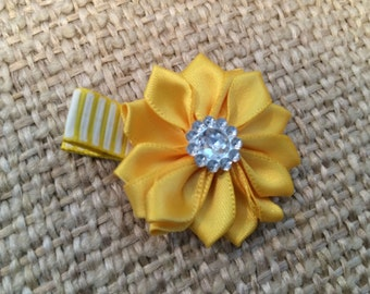Yellow Satin Flower on a Partially Lined Alligator Hair Clip