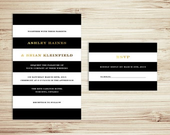 Black And White Stripes And Gold Foil Wedding Invitation Set