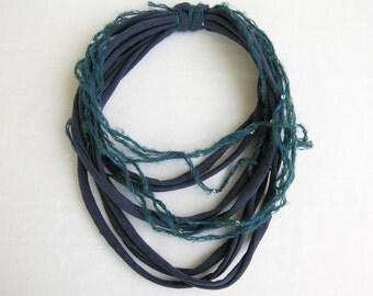 Blue cotton scarf-necklace, Blue cotton necklace, Blue cotton scarf, Blue fabric cord scarf, Infinity necklace,Multistrand necklace