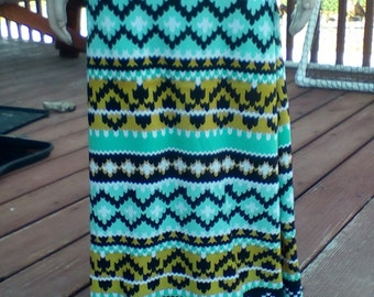 Girls and Toddlers Maxi Skirt  Yellow and Green Ikat
