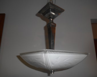 Vintage Mid-Century Square Glass With Chrome Accents Semi-Flush Light Fixture FREE SHIPPING