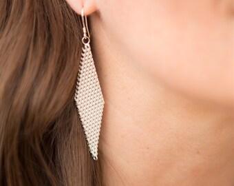 Sterling Silver Mesh Drop Earrings
