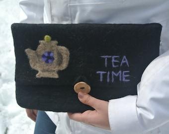 Tea Time Felted Clutch Purse