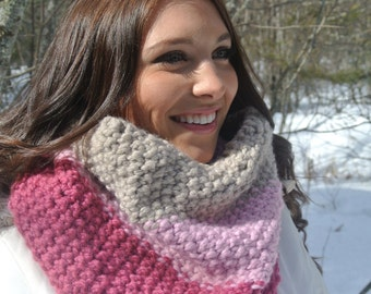 Chunky Pink Hand Knit Cowl