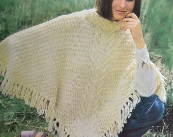 Knitting Pattern Aran Cape : Aran poncho Etsy UK
