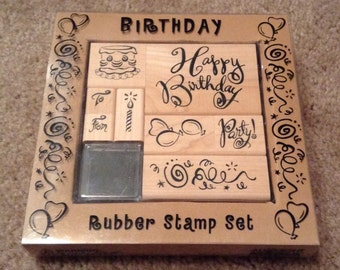 Rubber Stamps - Happy Birthday Rubber Stamp Set - 8 Wood Mounted Stamps