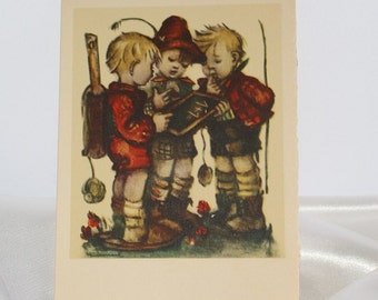 Vintage Three boys with Chalkboard Unused Hummel card by ARS Sacra Made in USA