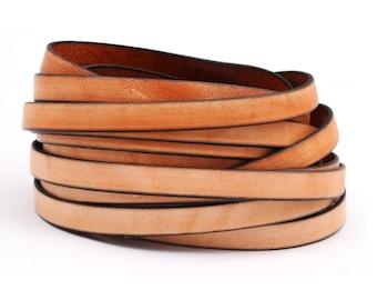Flat leather strap vintage ochre (black Edge), 10 x 2 mm | High-quality cowhide 0.2 m / 0.4 m / 1 m - FL03210