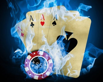 Poker Casino Wall Poster, Gambling Wall Art, Picture Print A0