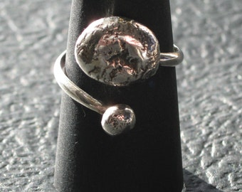 Double Molten Sterling Silver Ring