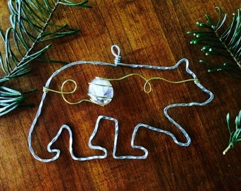 Wire bear ornament and window charm