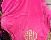 Plush Lilly Appliqued monogrammed Blankets