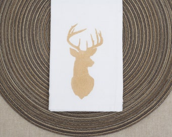 Gold Stag Printed Modern Napkins - Set of 4, perfect for the holidays