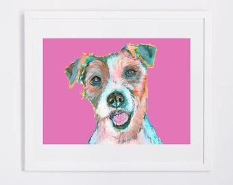 Jack Russell Terrier Painting Pink art poster Print Jack russell  wall art dog portrait JRT gift art print