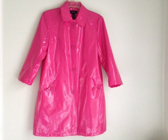 Vintage Pink Rain Jacket/Vinyl/ Hot Pink/ Waterproof/ Coat/