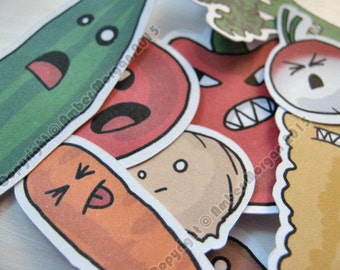 Cute Vegetable Stickers, Paper Stickers, Journaling, Sticker Flakes, Cute Food, Funny, Humor, Silly, Stationery, Scrapbooking, Kawaii Food