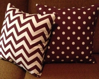 "Sale.   18"" x 18"" Decorator Maroon white chevron zigzag pillow cover envelope pillow Premier fabric"