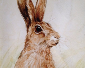 A4 'Hector the Hare' print from an original watercolour