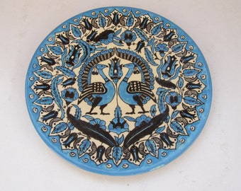 Vintage Marvelous Armenian Ceramic Hand Painted Wall Hanging Plate