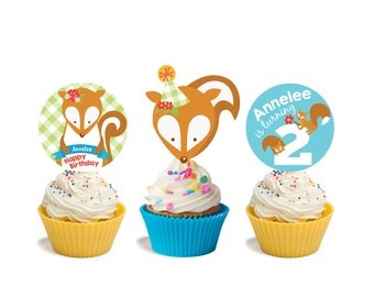 Squirrel cupcake toppers and wrappers- woodland theme, Customized Printable DIY, woodland cupcakes squirrel