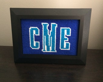4x6, 5x7 or 8x10 Framed Needlepoint Monogram