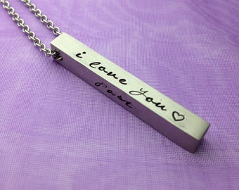I Love You-Past-Present-Future-Custom 4 Sided Stainless Steel Bar Pendant-Gift For Her Or Him-Name Bar Pendant-Valentine's Day-Couples Gift