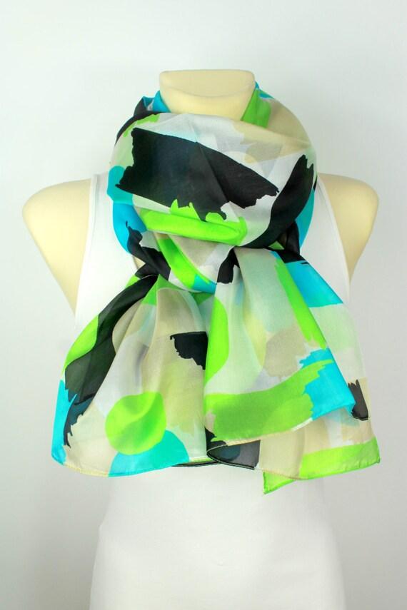 Geometric Silk Scarf - Women Fashion Scarf - Unique Fabric Scarf - Original Boho Modern Shawl - Accessories - Gift Ideas for her -Large Size