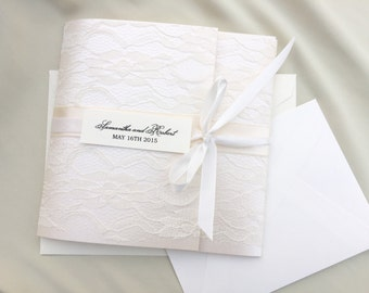 Shabby Chic, Old Hollywood Glam, Ivory Lace, Elegant Lace Trifold Wedding  Invitation Set