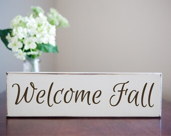 Welcome Fall - Antique Wooden Sign Small Home Decor Fall Autumn Thanksgiving Holiday