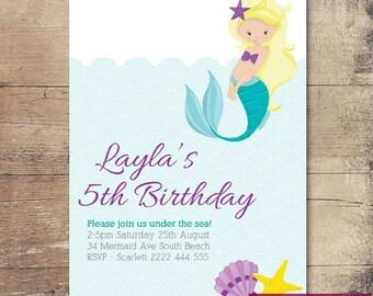 Printable Mermaid Birthday Invitation / Customisable Digital File / JPG or PDF / Blonde, Purple, Pink, Orange