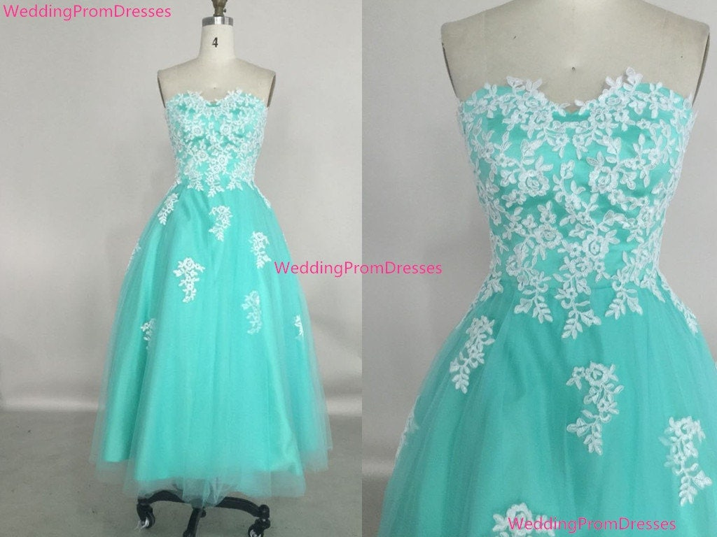Cute Tea Length Tulle Turquoise Prom Dress by