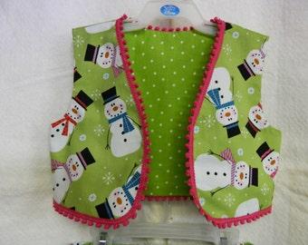 Precious Snowman Skirt and Vest Set