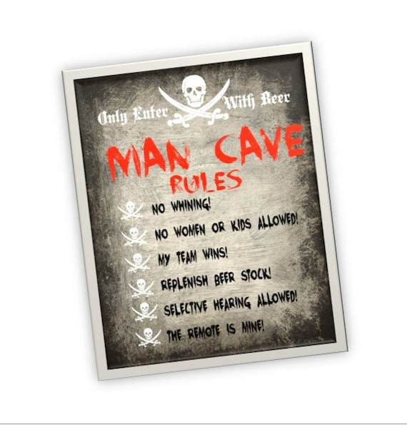 Man Cave Decor Etsy : Items similar to man cave rules decor printable sign