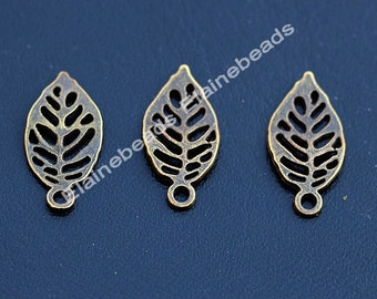 Small Hollow bend Leaf antique bronze leaf charms Fitting jewelry Supplies 11mmX23mm 50PCS