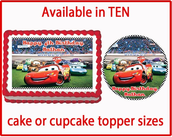 Cars Edible Cake Cookie or Cupcake Toppers Birthday Party ...