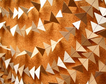 Triangle Garland Banner, Recycled White & Brown triangle 5-20 foot Garland banner