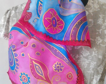 silk scarf Hand painted silk scarf Color Mix