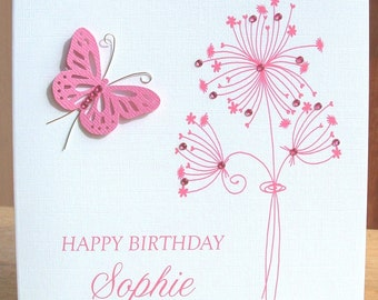 Personalised card, birthday card, floral birthday card, butterfly card, pink birthday card, greeting card, handmade card, 3D birthday card