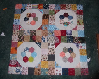 Hand Made Scrappy Patchwork Traditional Quilt Blocks, with a Hexie Flower