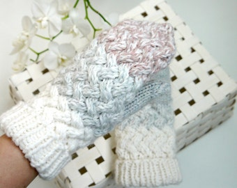 Christmas gift ideas - White grey blush knitted mittens - hand knitted mittens for women - wool knitted mittens for women