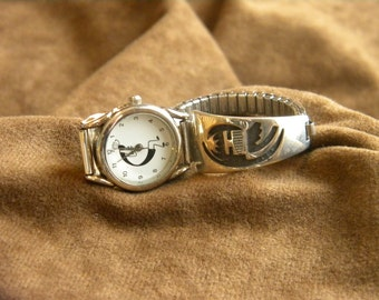 Navajo Rhoda Jack Sterling Silver Watchband with Kokopelli Watchface