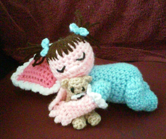 Crochet Sleeping Baby with bear and pillow Pattern Only