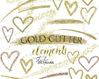 Gold Glitter Hearts and Elements Clipart - Gold Hearts / Fairy Dust / Brush Strokes - Delicate Gold Confetti - Instant Download