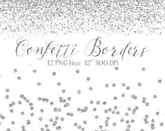 Silver Confetti Borders - Glitter Confetti Clipart - Digital Confetti - 12 Silver Glitter Border Clipart Overlays - Instant Download