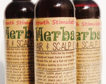 Growth Stimulating Hair & Scalp Oil w/ 7 Organic Herbal Extracts, Wheat Germ, Blackseed, Lavender, Nettle, Rosemary