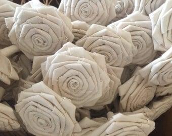 3.5'' 1 piece Muslin Flowers, Muslin Rosettes, Rustic Bouquet, Rustic Flower Arrangement, White Rosettes