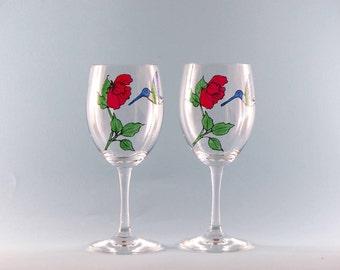 Hand Painted Hummingbird Wine Glasses - Hummingbird Wine Glass - Lovely! Painted Hummingbirds