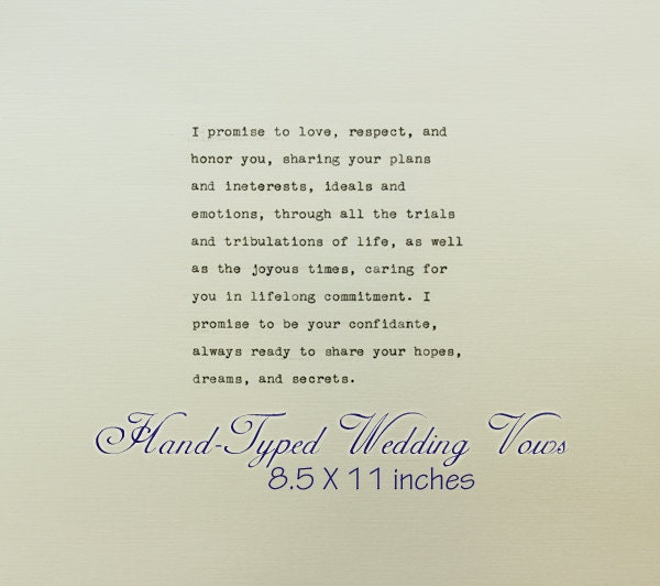 Wedding Vow Artwork: Typewriter Wedding Vows Vintage Wedding Vows Vows Print