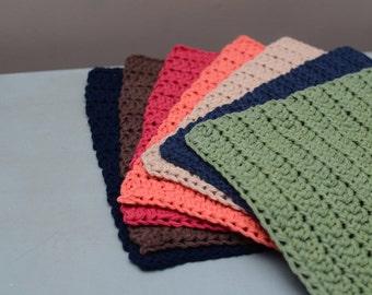 Crochet Dishcloths, Handmade Dishcloths, Set of 6 dishcloths, Cotton Dishcloths, Crochet washcloths